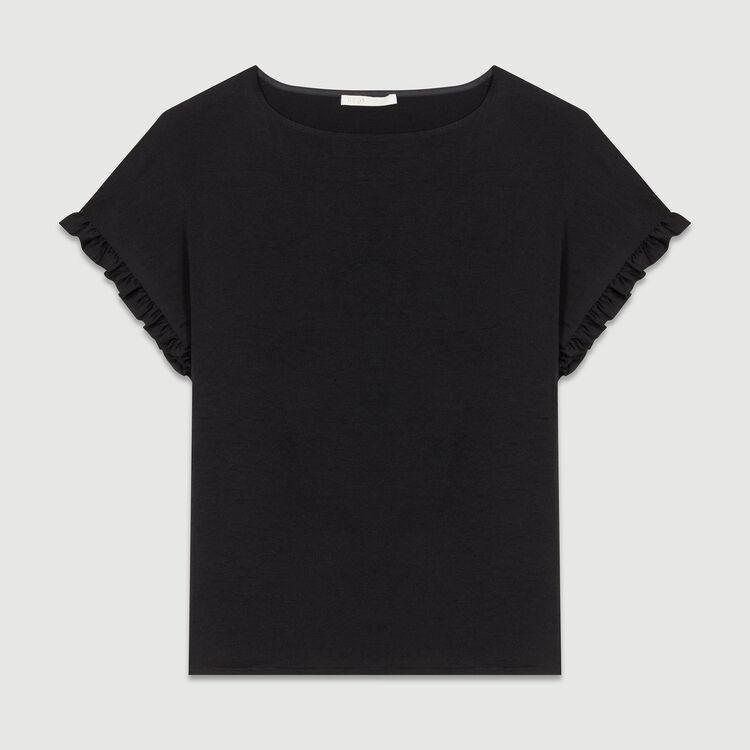 Top loose avec détails volantés : T-Shirts couleur Black