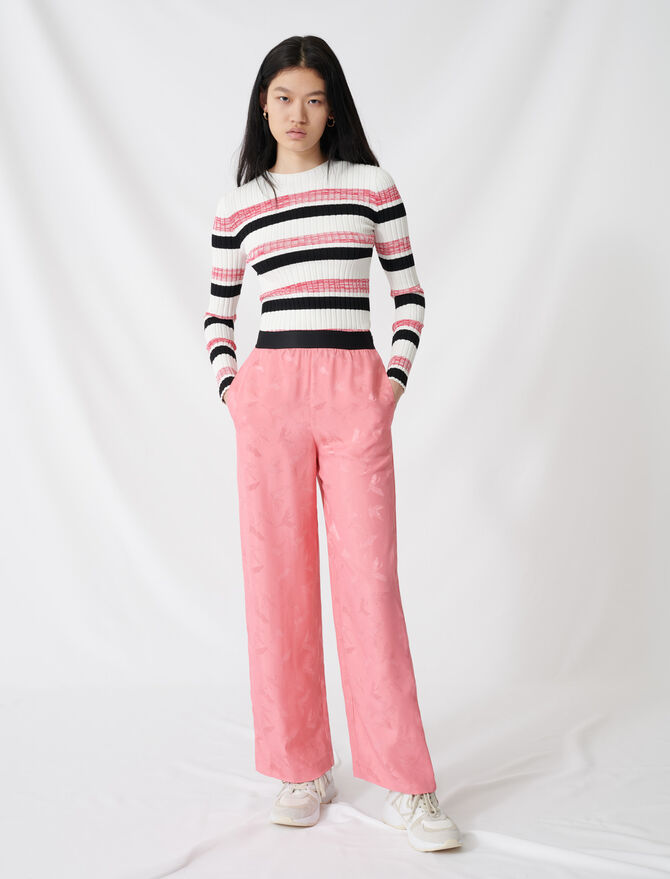 Satiny jacquard palazzo trousers - All the collection - MAJE