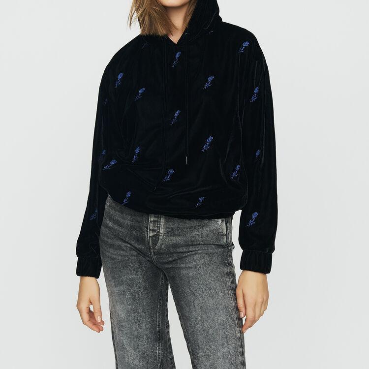 Sweat-shirt à capuche en velours brodé : Sweats couleur Black