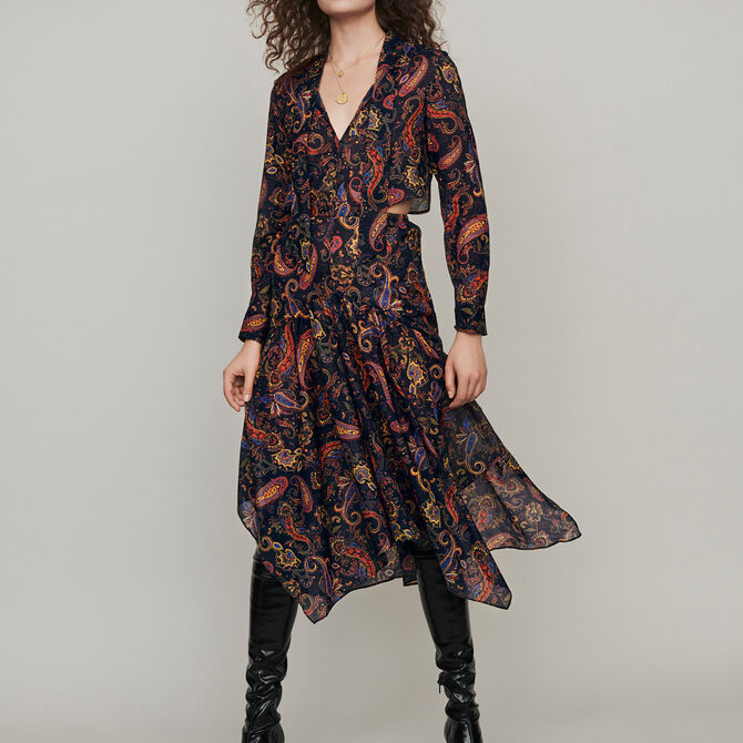 Printed-cotton scarf dress - See all - MAJE