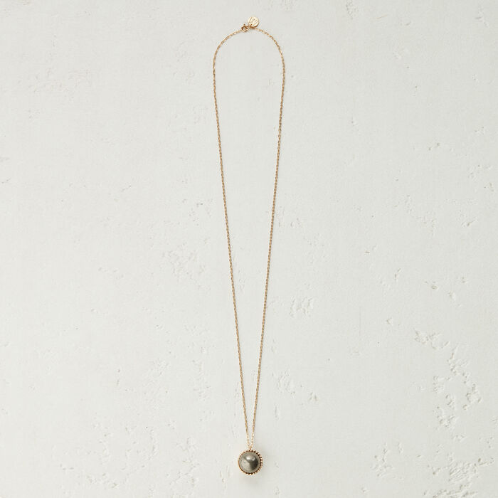 Collier long avec pendentif en pierre : Bijoux couleur OLD SILVER