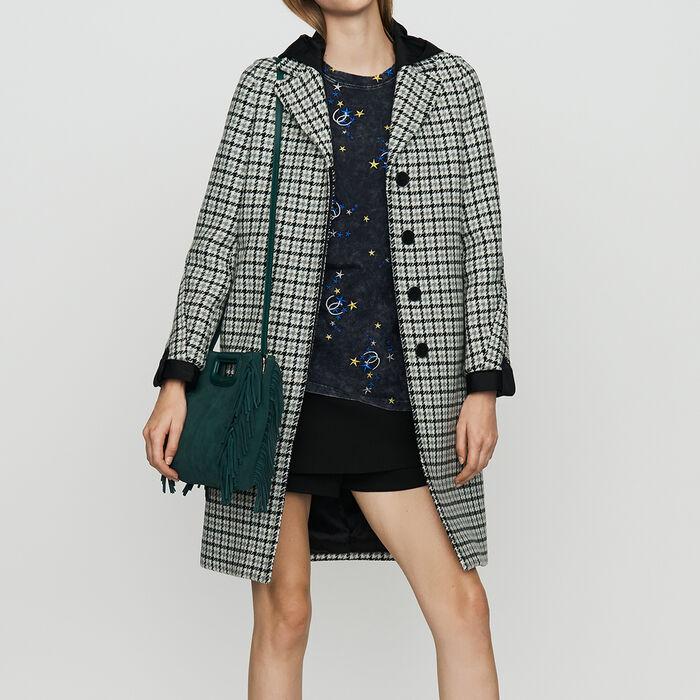 Manteau droit à imprimé pied-de-poule : Manteaux couleur CARREAUX