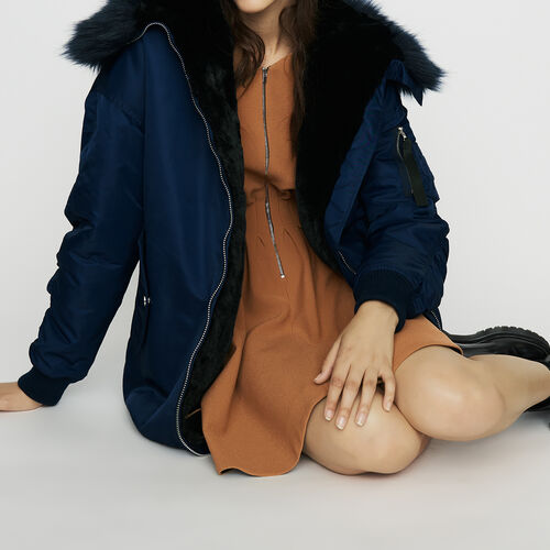 Long parka-style with hood with faux fur : Coats color Blue