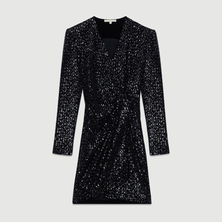 Robe cache-cœur en velours brodé : Robes couleur Black