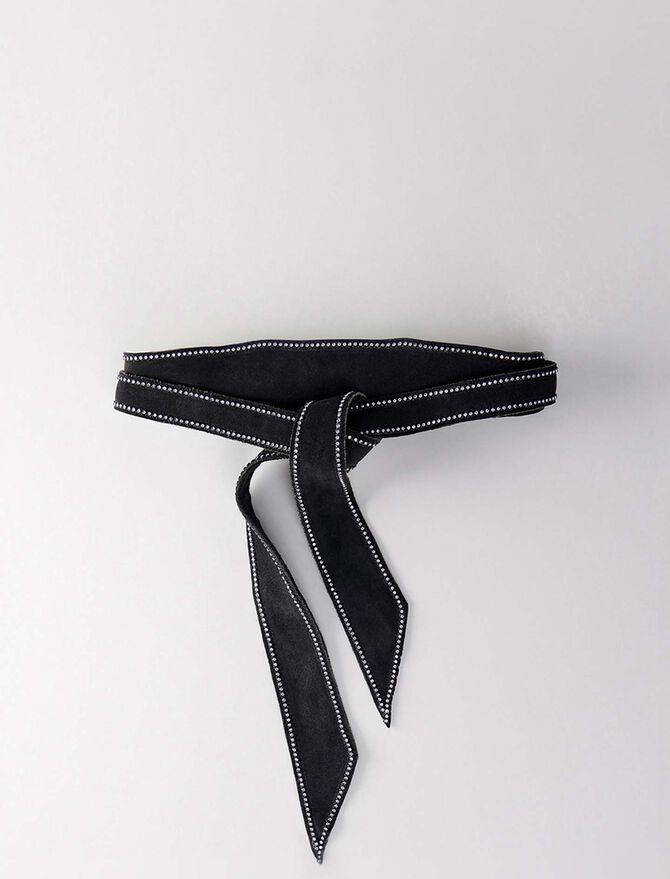 High-waisted belt with strass -  - MAJE