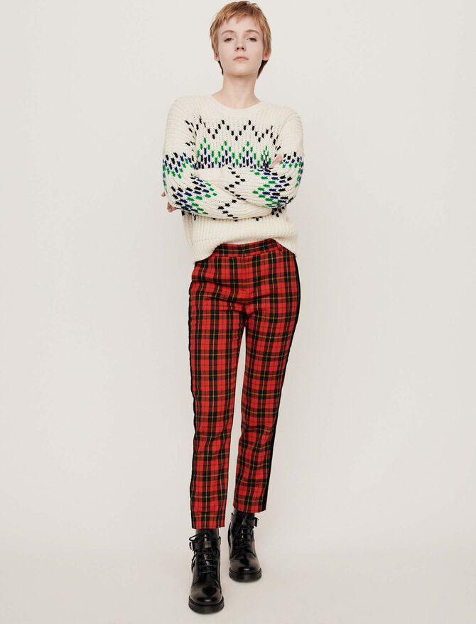 Velvet piped plaid pants - Trousers & Jeans - MAJE