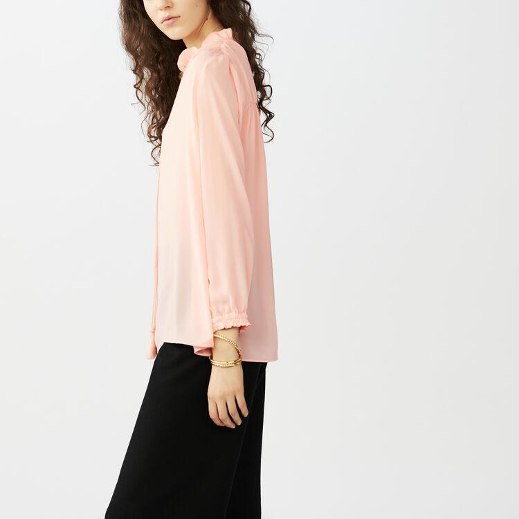 Chemise blousante avec cordon : Chemises couleur Rose