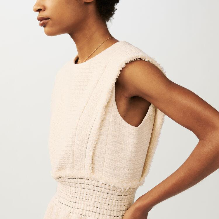 Robe sans manches en tweed : Robes couleur ECRU