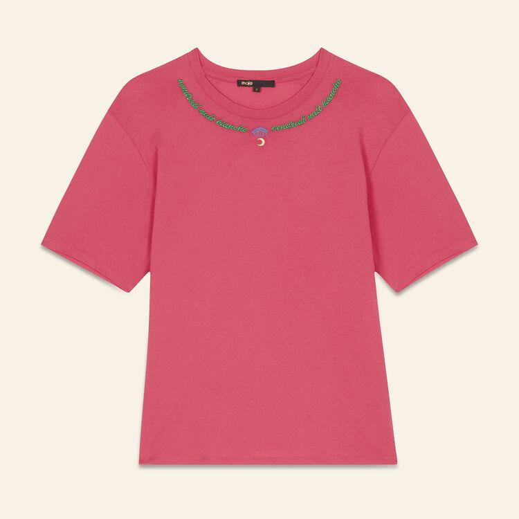 Tee-shirt brodé : T-shirts couleur Rose