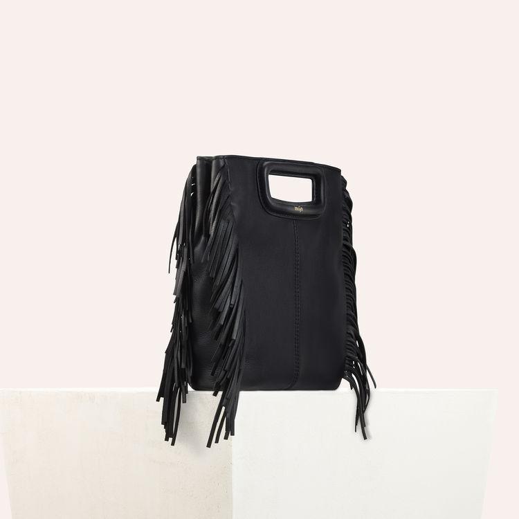 Sac M à franges en cuir : Sac M couleur BLACK
