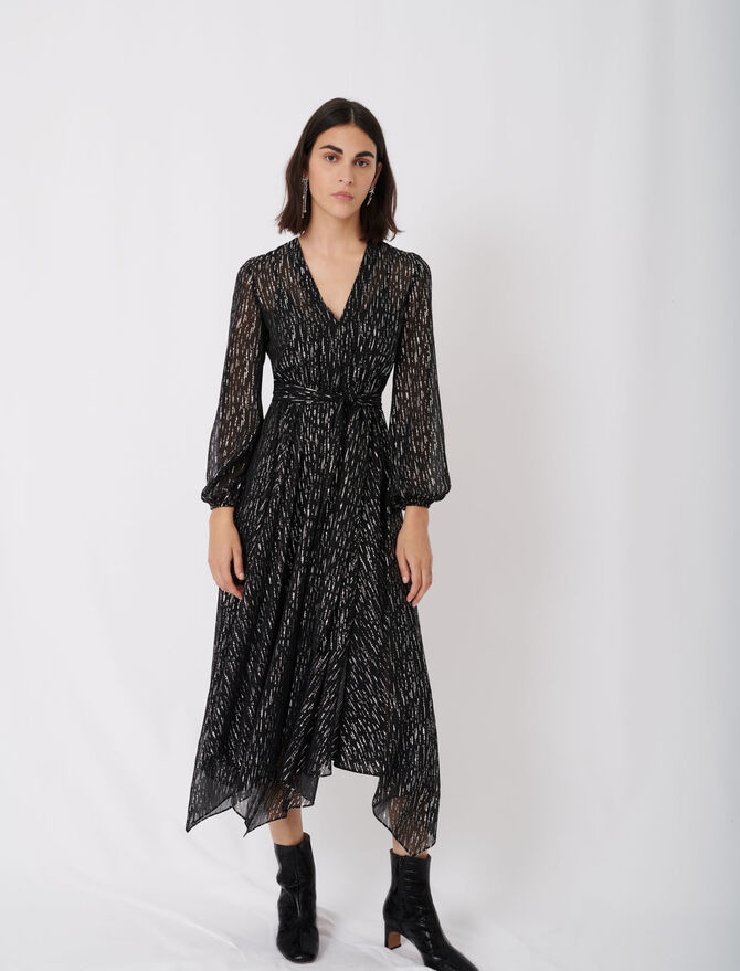 Belted muslin dress with scarf print -  - MAJE