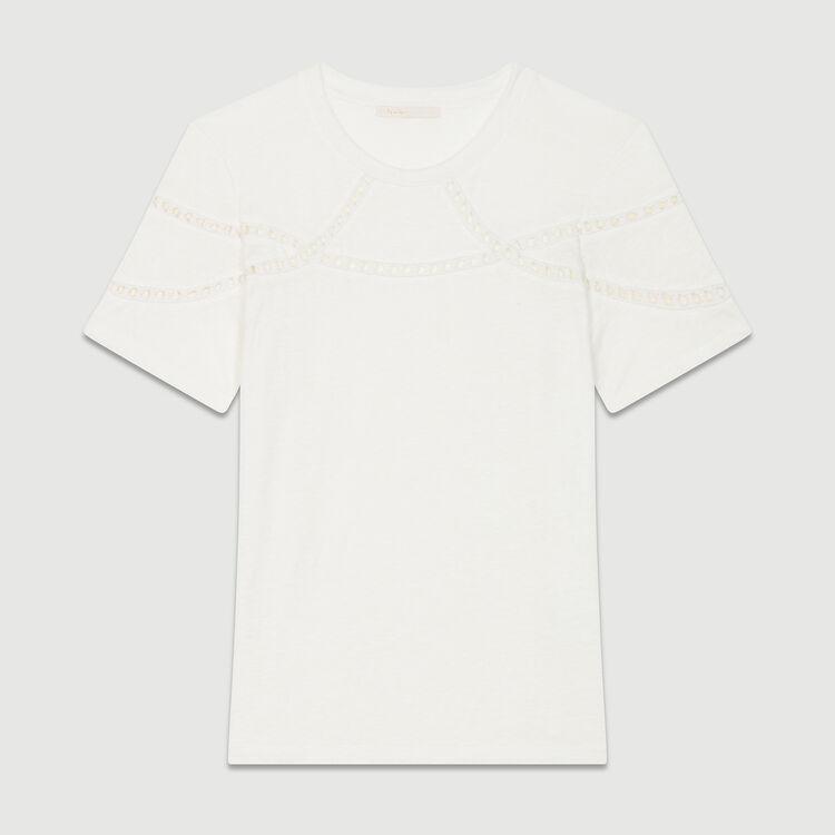 Tee-shirt en lin avec broderie : T-Shirts couleur ECRU
