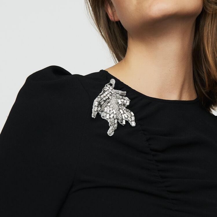 Robe à manches longues avec bijou : Robes couleur Black