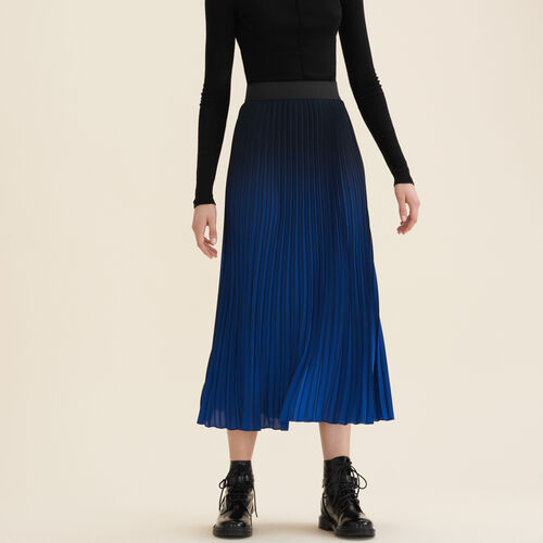 Pleated tie-dye skirt : Skirts & Shorts color Indigo
