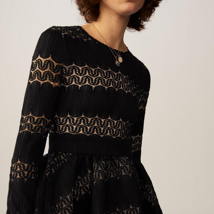 Robe corolle en maille basket : Robes couleur BLACK