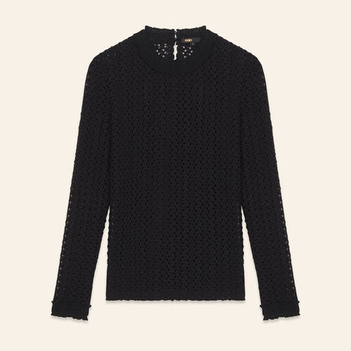 Top en mix de broderie : Tops couleur BLACK