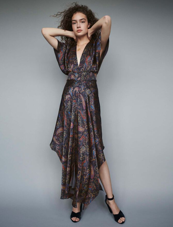 Burn-out-printed scarf smock dress - Dresses - MAJE
