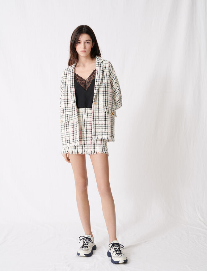 Veste façon tweed à carreaux - Vestes - MAJE