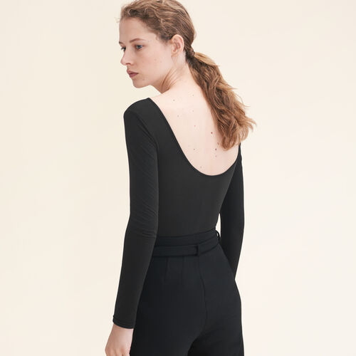 Long-sleeved jersey body : Tops color Black 210