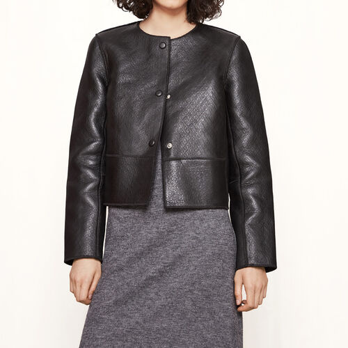 Cropped bonded leather jacket : Blazers & Jackets color Black 210
