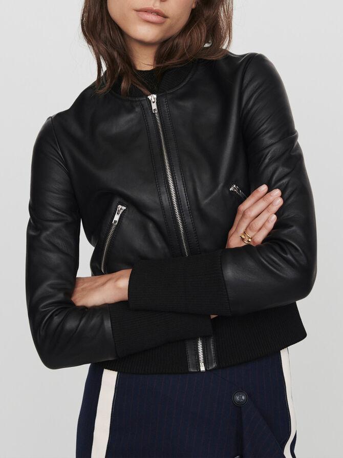 Leather jacket with rib-knit trim - Coats & Jackets - MAJE