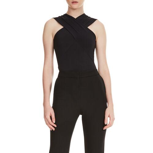 Body avec décolleté croisé : Tee-Shirts couleur Black