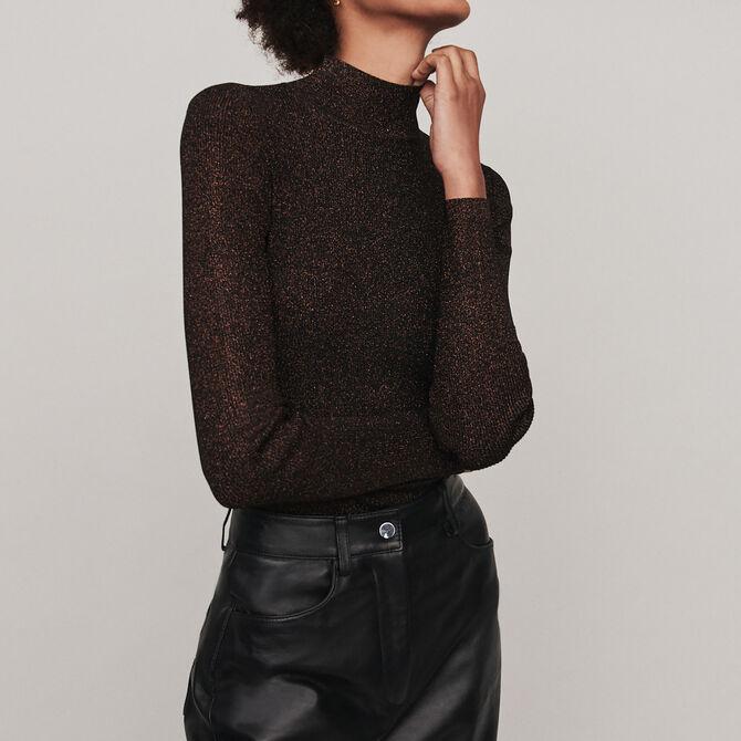 Light Lurex turtleneck sweater - Knitwear - MAJE