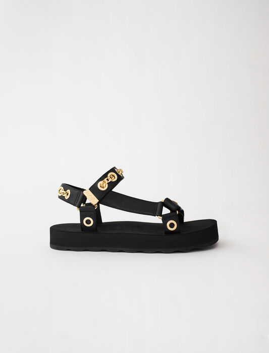 Sandales en cuir avec oeillets et chaine : LastchanceIT_20 couleur Noir
