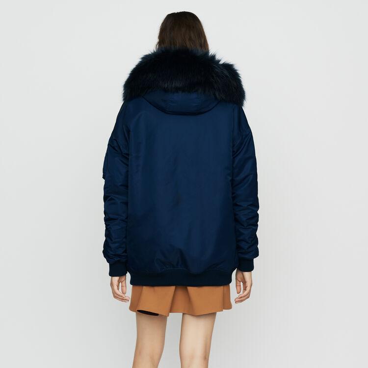 Parka à capuche en fausse fourrure : Manteaux couleur Bleu