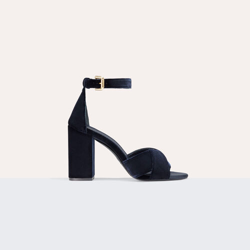 Heeled suede calfskin sandals : Accessoires color NIGHT BLUE