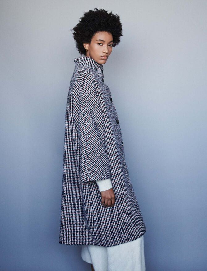 Long wool houndstooth coat -  - MAJE