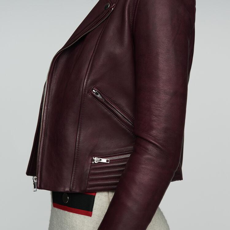 Blouson en cuir : Blousons couleur BORDEAUX