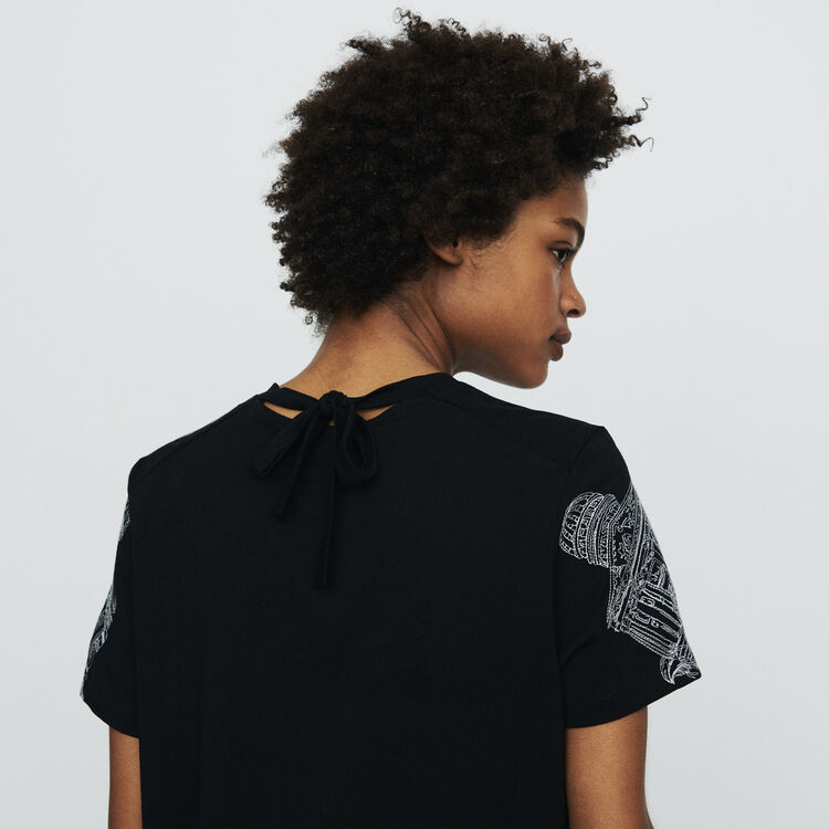 Tee-shirt à broderies Paris all-over : T-Shirts couleur BLACK