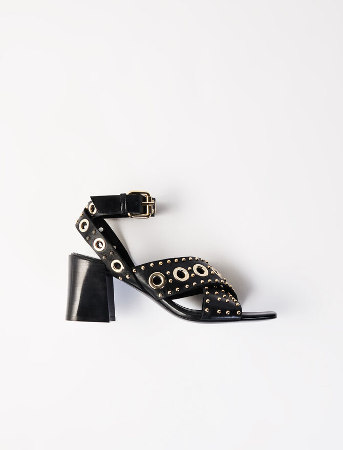 Heeled studded sandals -  - MAJE