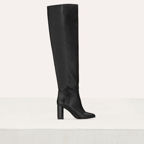 Cuissardes en cuir souple : Bottines couleur Black