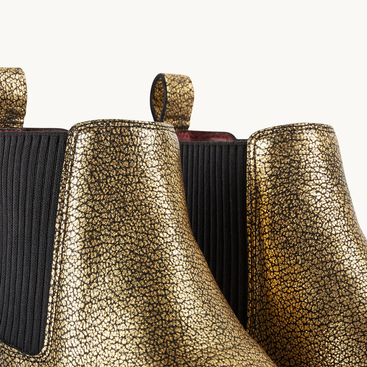 Bottines chelsea en cuir craquelé : Accessoires couleur Gold