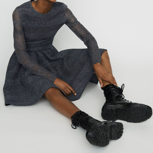 Skater dress in basketweave knit : Dresses color Grey