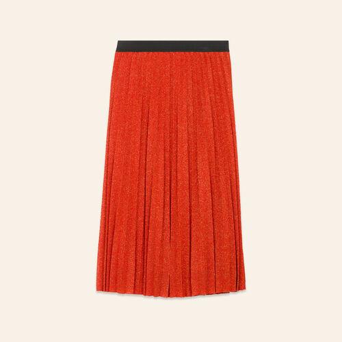 Jupe plissée en maille Lurex : Jupes & Shorts couleur ORANGE