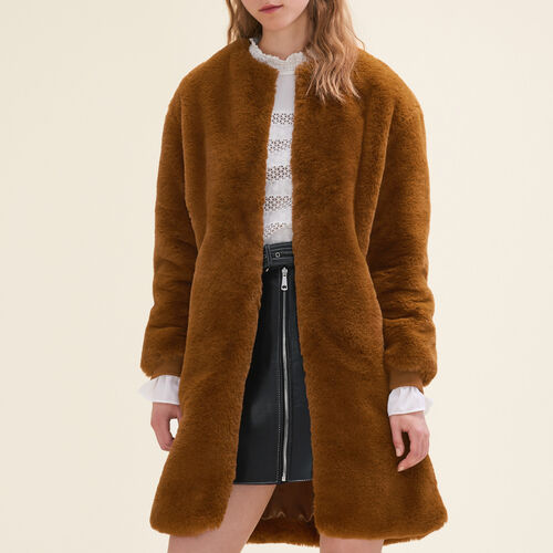 Faux fur coat - Coats - MAJE