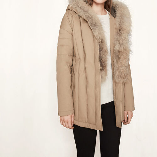 Parka belted at the waist : Coats color Beige