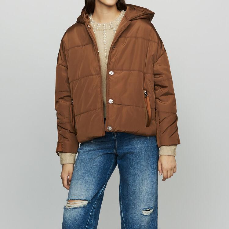Doudoune courte à capuche : Manteaux couleur CARAMEL
