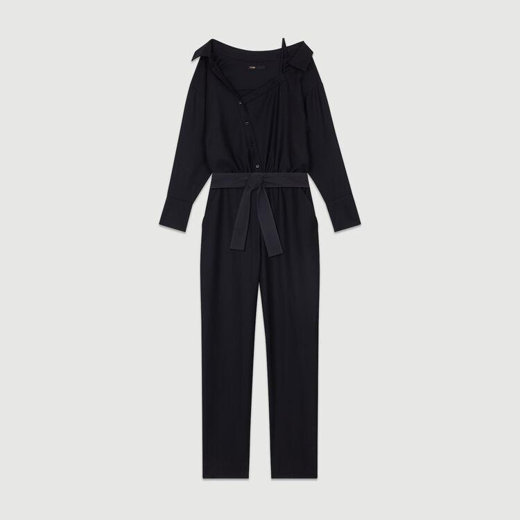 Combinaison avec épaule dénudée : Pantalons couleur Black