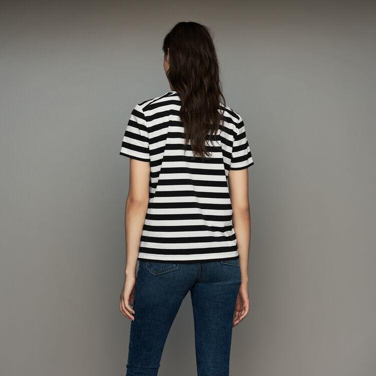 Tee-shirt en coton rayé avec écusson : T-Shirts couleur Rayure