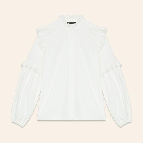 Chemise en popeline avec volants : Tops couleur BLANC