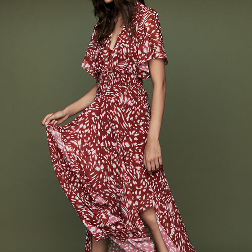 Long asymmetric printed dress : Burgundy color PRINTED