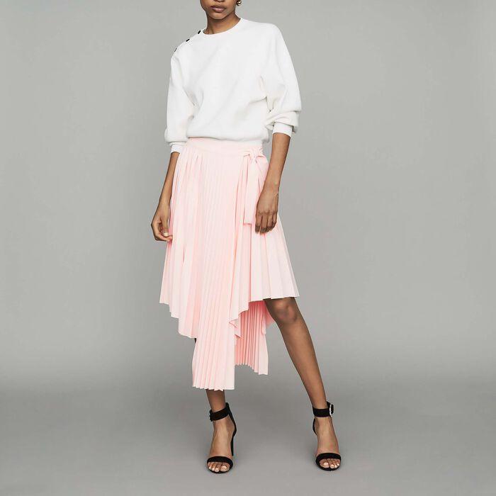 Jupe plissée asymétrique : Nouvelle Collection couleur PECHE