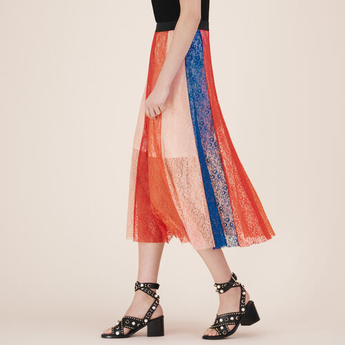 Long skirt with lace bands : Skirts & Shorts color Multi-Coloured