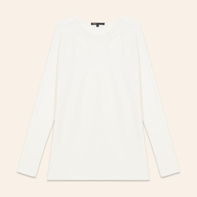 Pull fin en laine mélangée : Pulls & Cardigans couleur ECRU