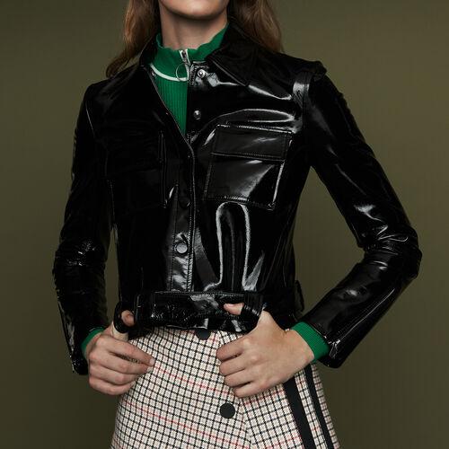 Veste courte en cuir vinyle : Blousons couleur Black