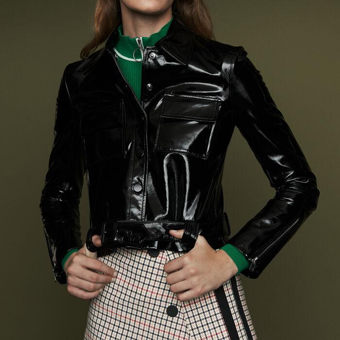 Veste courte en cuir vinyle : Prêt-à-porter couleur